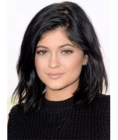 Kylie Jenner Medium Wavy Lace Front Human Hair Wig 12 Inches