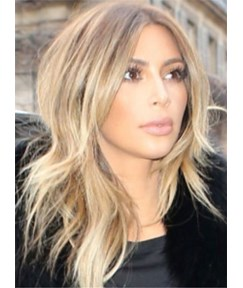 Attractive Kim Kardashian Medium Wavy Lace Front Human Hair Wig 16 Inches