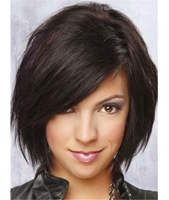Layered Medium Straight Full Lace Human Hair Wig 12 Inches