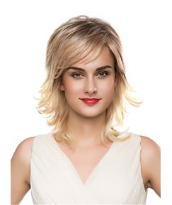 Mishair® Layered Fluffy Medium Wavy Capless Human Hair Wig 16 Inches