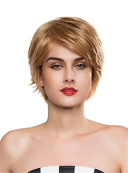 Mishair® Layered Short Wavy Capless Human Hair Wig 10 Inches