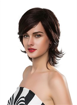 Mishair® Charming Medium Wavy Capless Human Hair Wig 14 Inches