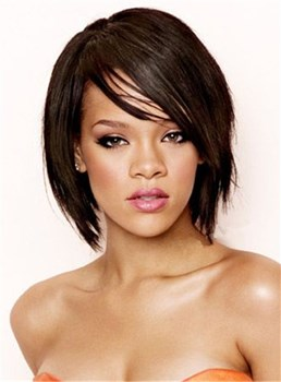 Rihanna Layered Medium Straight Capless Human Hair Wig 12 Inches