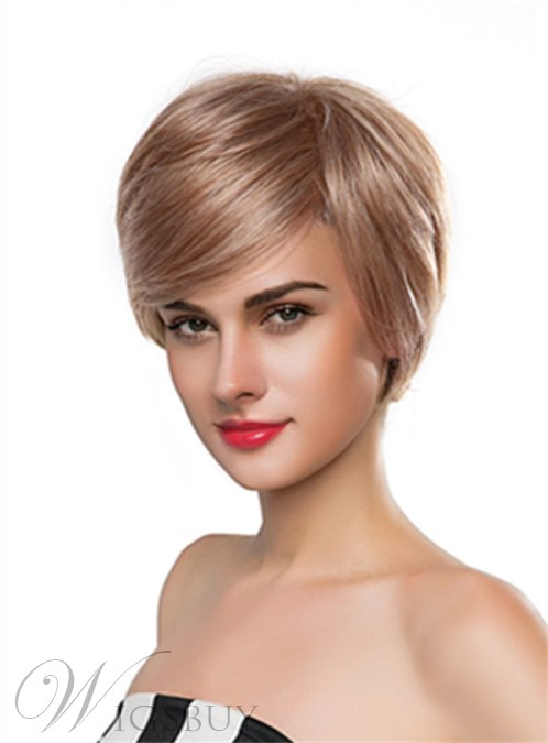 Mishair® Elegant Short Straight Capless Human Hair Wig 10 Inches 12248911