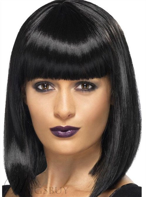 Medium Straight Lob Capless Synthetic Hair Wigs 14 Inches 12245203
