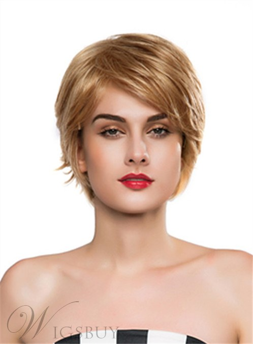 Mishair® Layered Short Wavy Capless Human Hair Wig 10 Inches 12248905