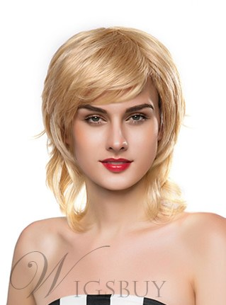 Mishair? Layered Medium Wavy Capless Human Hair Wig 14 Inches 12247429