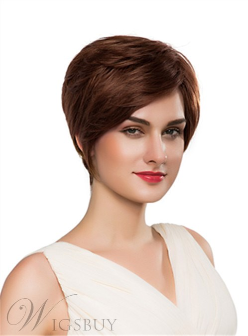 Mishair® Cute Short Straight Capless Human Hair Wig 10 Inches 12248907
