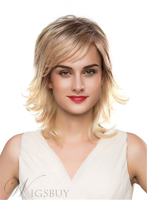 Mishair® Layered Fluffy Medium Wavy Capless Human Hair Wig 16 Inches 12250672