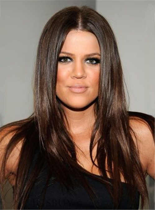 Khloe Kardashian Long Straight Middle Part Lace Front Synthetic Hair Wigs  18 Inches  Wigsbuy.com caf80217c