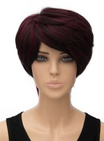 Red Short Straight Capless Synthetic Hair Wig 8 Inches