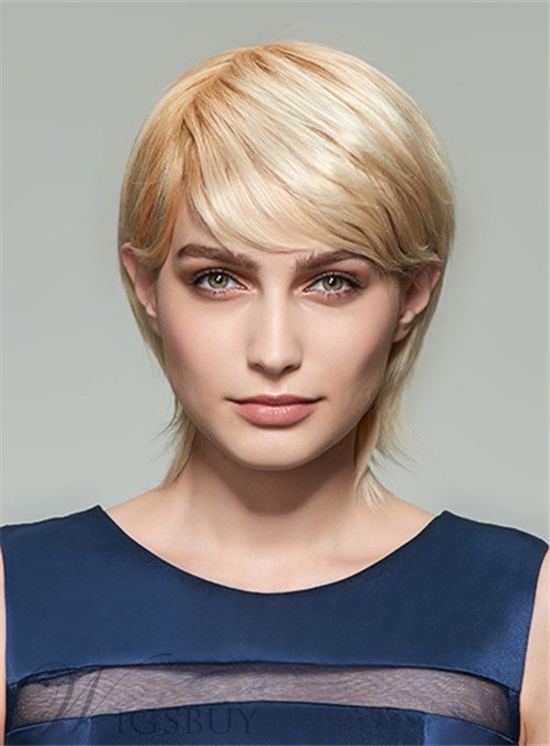 Mishair? Layered Medium Straight Capless Human Hair Wig 12 Inches 12253628