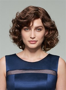 Mishair® Lovely Medium Curly Capless Human Hair Wig 12 Inches