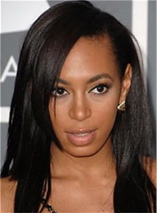African American Fashionable Hairstyle Middle Straight 16 Inches Black Natural Lace Wig