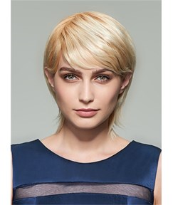 Mishair® Layered Medium Straight Capless Human Hair Wig 12 Inches