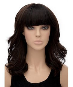 Pretty Medium Wavy Full Bangs Capless Synthetic Hair Wig 16 Inches