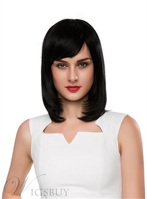 Mishair® Elegant Medium Straight Capless Human Hair Wig 14 Inches 12255645