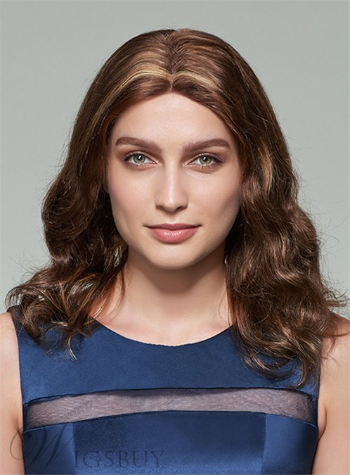 Mishair® Long Wavy Middle Part Lace Front Human Hair Wig 18 Inches 12253610