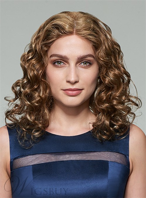 Mishair® Attractive Medium Curly Lace Front Human Hair Wig 14 Inches 12253605