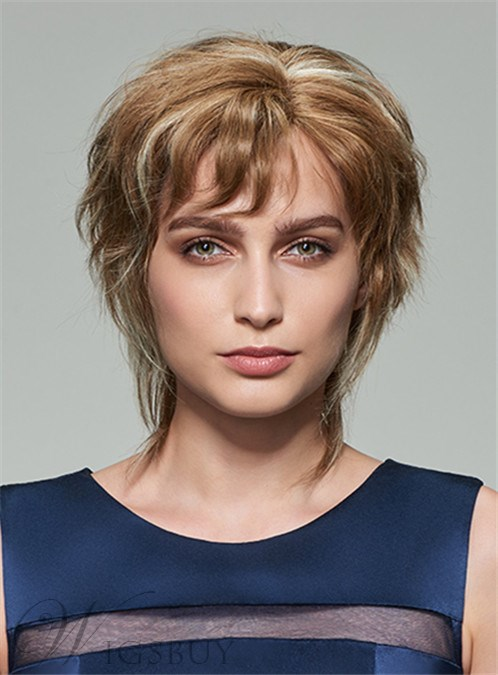 Mishair? New Fluffy Short Wavy Capless Human Hair Wig 10 Inches 12253612