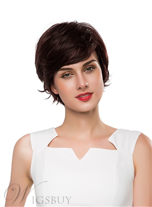 Mishair? Cute Short Wavy Capless Human Hair Wig 10 Inches 12255650