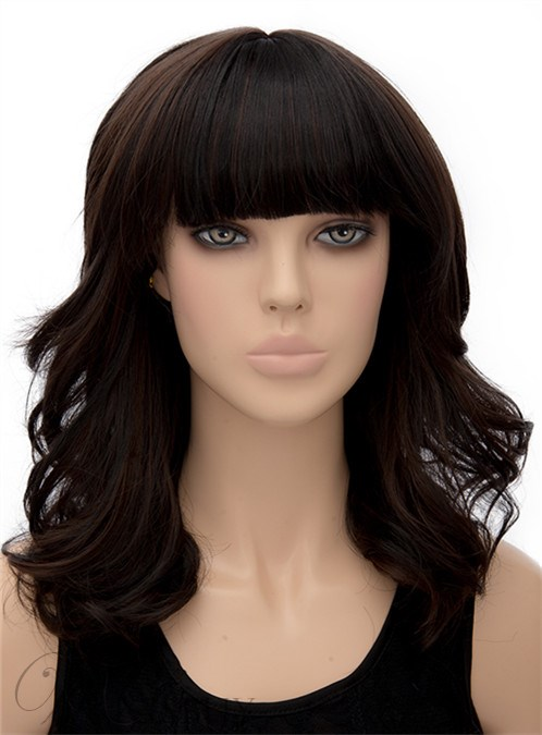 Pretty Medium Wavy Full Bangs Capless Synthetic Hair Wig 16 Inches 12269797