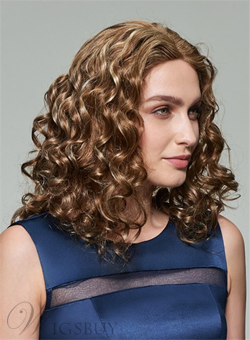 Mishair® Attractive Medium Curly Lace Front Human Hair Wig 14 Inches