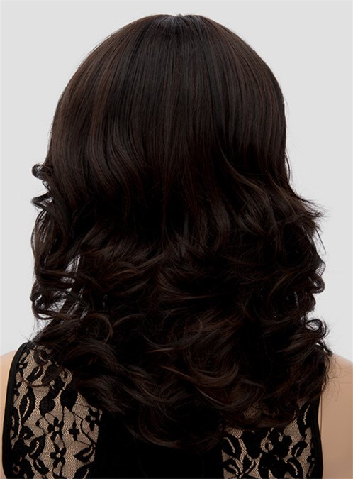 hair with bangs styles pretty medium wavy bangs capless synthetic hair wig 8014