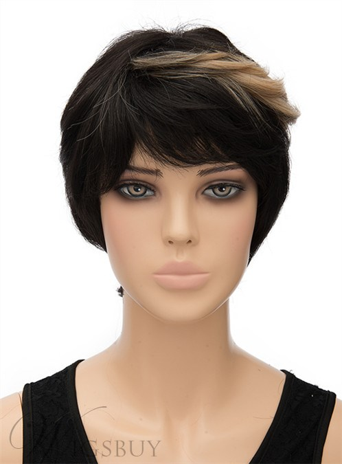 Unique Short Straight Capless Synthetic Hair Wig 8 Inches 12407462