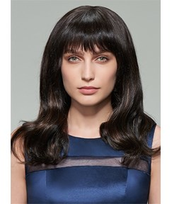 Mishair® Long Wavy Natural Black Human Hair Capless Wig 18 Inches