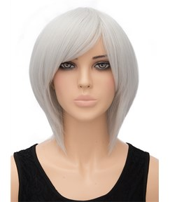 Gray Medium Straight Capless Synthetic Hair Wig 12 Inches