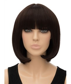 Cute Medium Bob Hairstyle Straight Capless Synthetic Hair Wig 12 Inches
