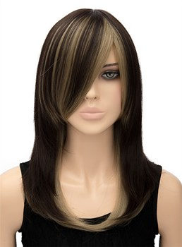 Mixed Color Long Straight Capless Synthetic Hair Wig 18 Inches