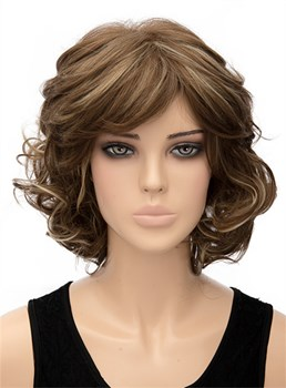 Elegant Mixed Color Medium Wavy Capless Synthetic Hair Wig 12 Inches
