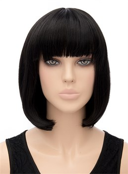 Lob Hairstyle Medium Straight Full Bangs Capless Synthetic Hair Wig 12 Inches