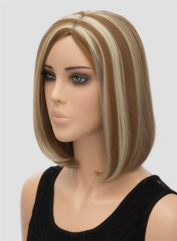 Unique Color Medium Straight Capless Synthetic Hair Wig 12 Inches