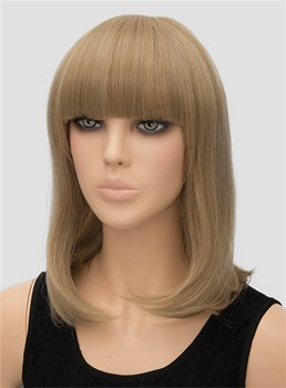 Full Bangs Medium Straight Capless Synthetic Hair Wig 14 Inches