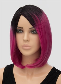 Colored Medium Straight Lob Hairstyle Capless Synthetic Hair Wig 12 Inches
