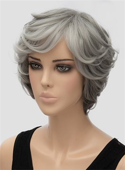 Gray Layered Short Wavy Capless Synthetic Hair Wig 10 Inches