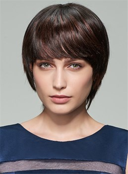 Mishair® Short Straight Bob Human Hair Capless Wig 8 Inches