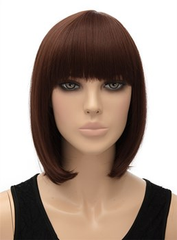Cute Medium Straight Full Bangs Capless Synthetic Hair Wig 12 Inches
