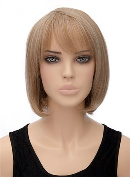 Fashionable Lob Medium Straight Capless Synthetic Hair Wig 12 Inches