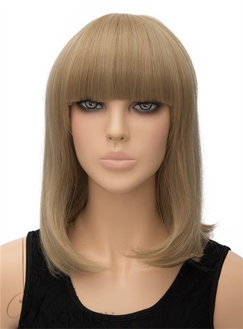 Full Bangs Medium Straight Capless Synthetic Hair Wig 14 Inches 12404776