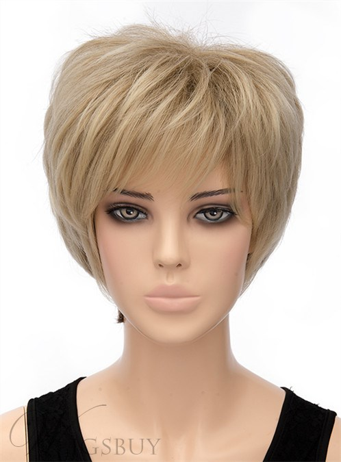 Fluffy Short Straight Capless Synthetic Hair Wig 8 Inches 12407458