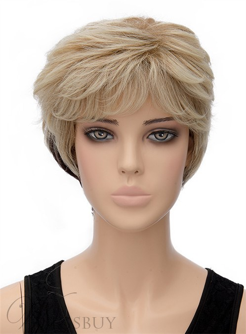Unique Fluffy Short Wavy Capless Synthetic Hair Wig 8 Inches 12402941