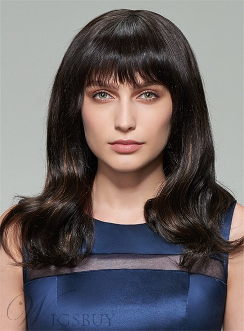 Mishair? Long Wavy Natural Black Human Hair Capless Wig 18 Inches 12408586