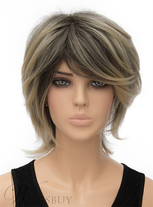 Fluffy Medium Straight Capless Synthetic Hair Wig 12 Inches 12404777