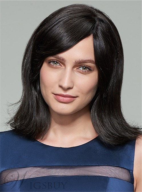 Mishair? Medium Straight Capless Human Hair Wig 14 Inches 12404455