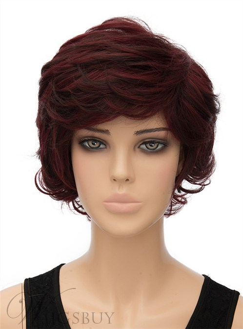 Fluffy Short Wavy Capless Synthetic Hair Wig 10 Inches 12402959