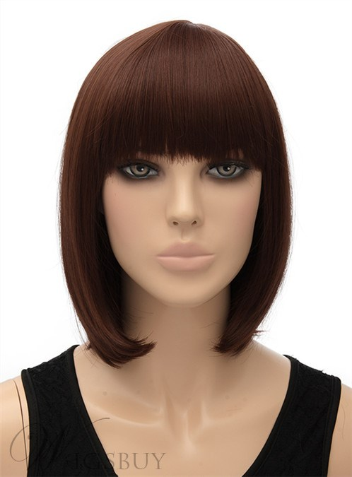 Cute Medium Straight Full Bangs Capless Synthetic Hair Wig 12 Inches 12406688